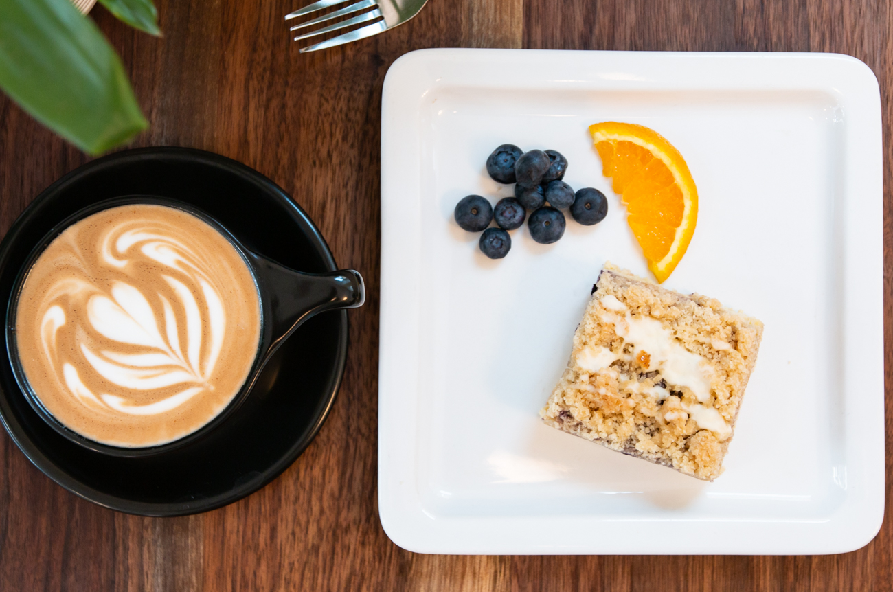 Caffe latte and house-made blueberry orange scone / Image: Elizabeth A. Lowry{ }// Published: 8.11.20