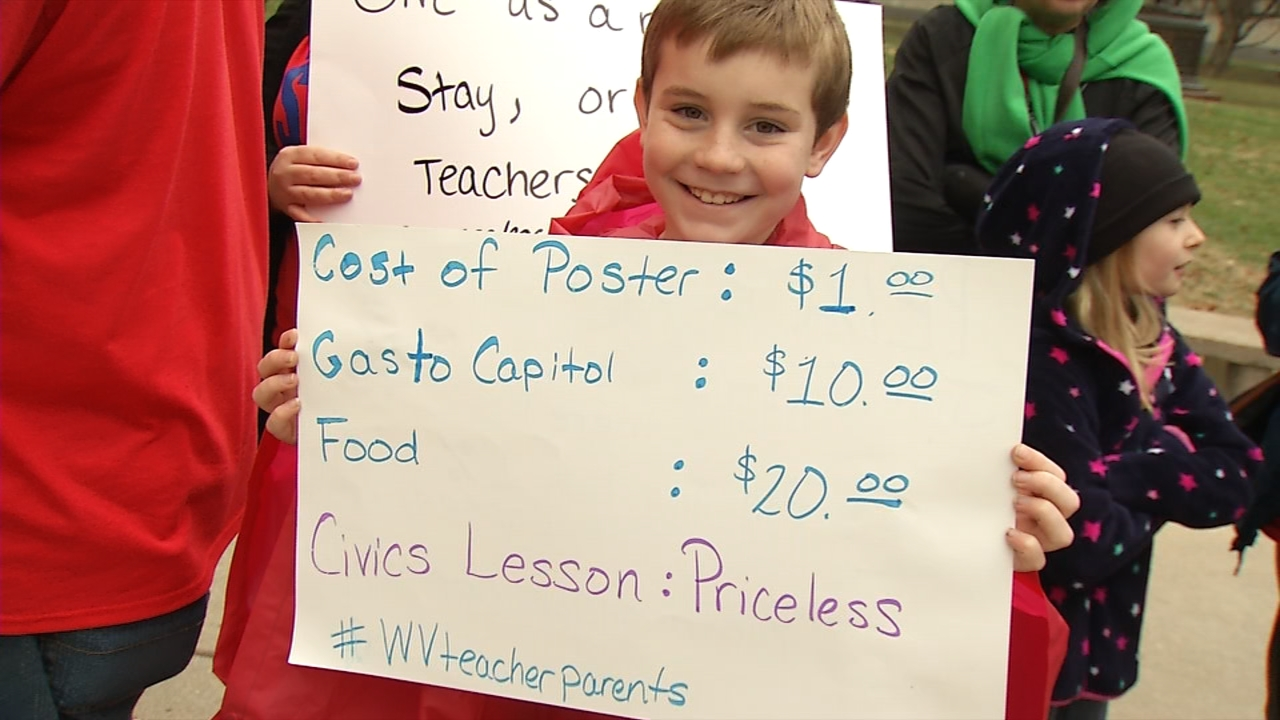 A boy holds a sign in support of teachers Wednesday at the West Virginia Capitol. (WCHS/WVAH)<p></p>