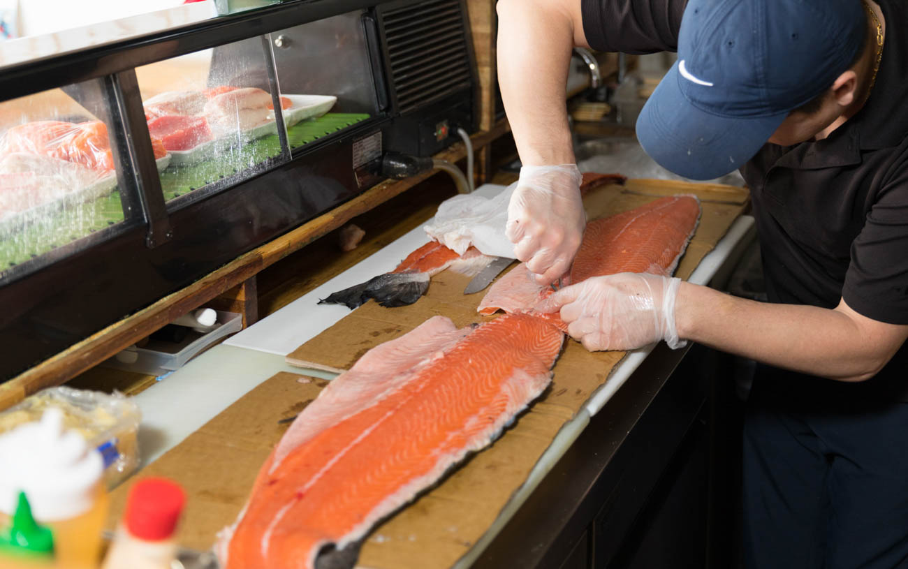 Fresh cut salmon from Japanese sources / Image: Marlene Rounds // Published: 1.17.19