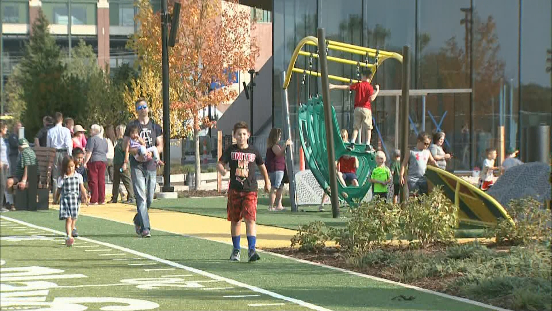 The Titletown District's park held its grand-opening, September 15, 2017. (WLUK)