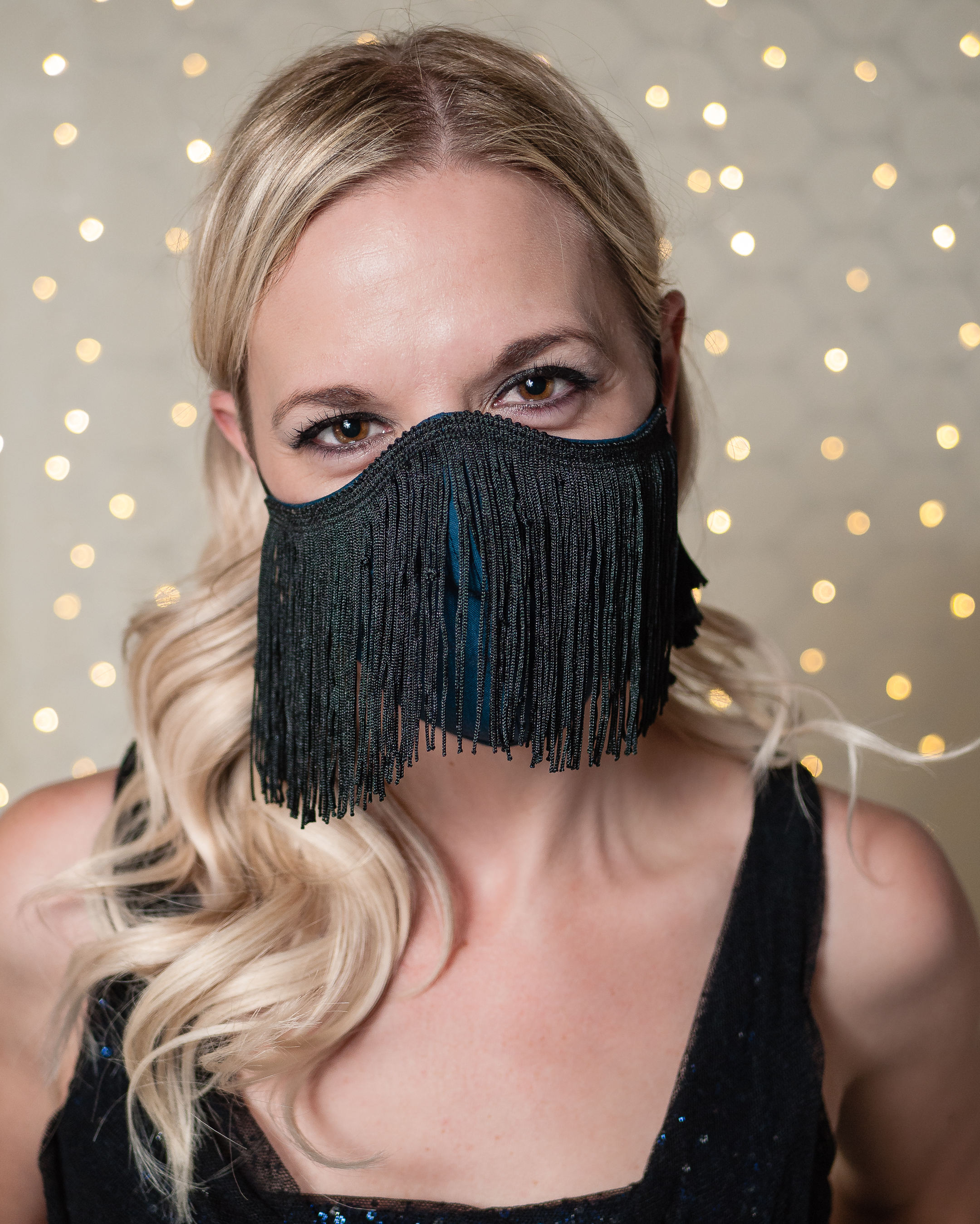 Amber modeling the new Fringe face mask. (Image: Ugly Yellow House)