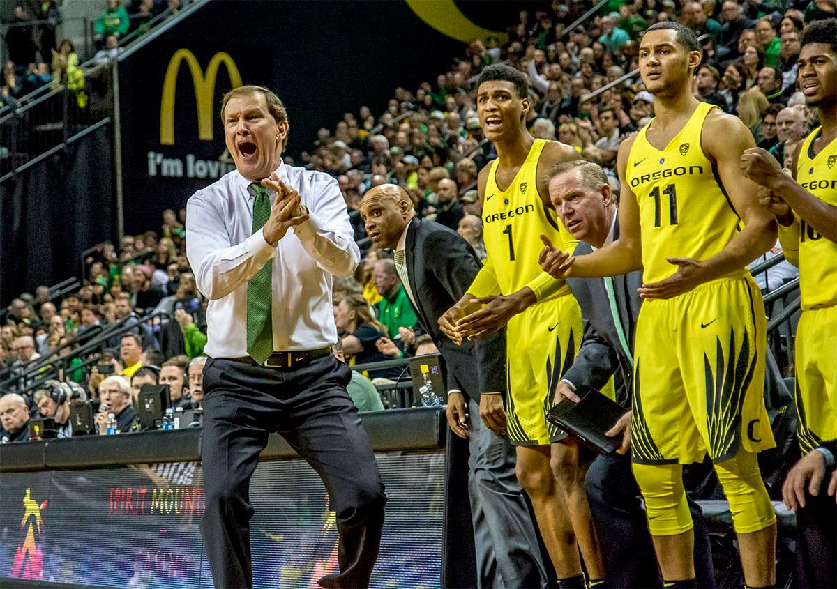 The Ducks Head Coach Dana Altman attempts to yell a timeout as the games final seconds tick by with his team trailing. The UO Ducks basketball team suffered a loss to the USC Trojans, 75-70, at Matthew Knight Arena on Thursday. Payton Pritchard lead the scoring with 18 points. The Ducks are now 2-4 in conference play and 12-7 overall. The Ducks will next play the UCLA at Matthew Knight Arena at 7:15 p.m. on Saturday, Jan. 20. Photo by August Frank, Oregon News Lab