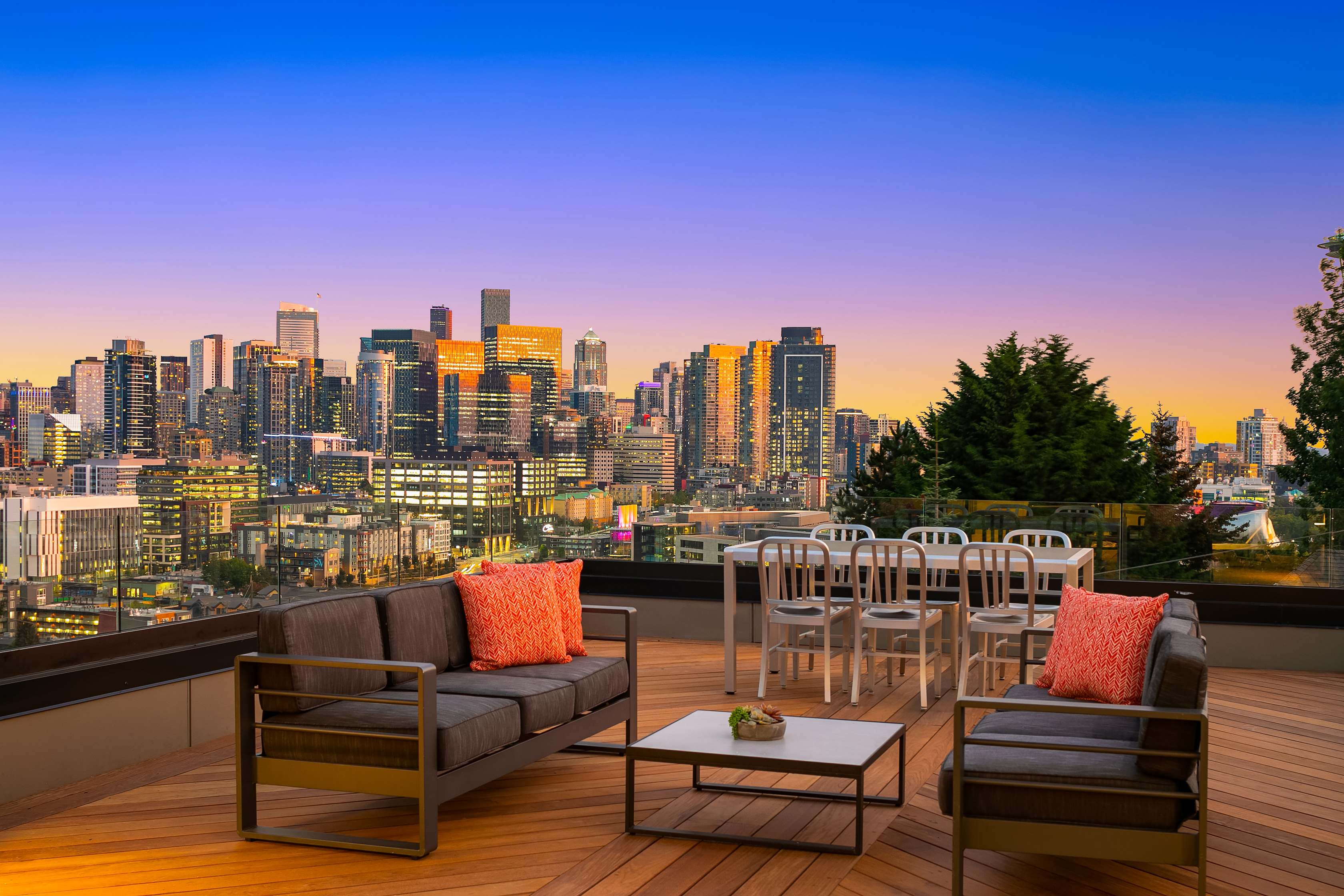 This home developed by Eugene Sherman features stunning views of the city skyline and nearby Lake Union.