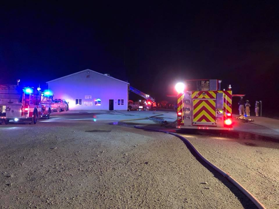 Attic fire breaks out at Christian County FS plant. (Stonington Fire Protection photo)