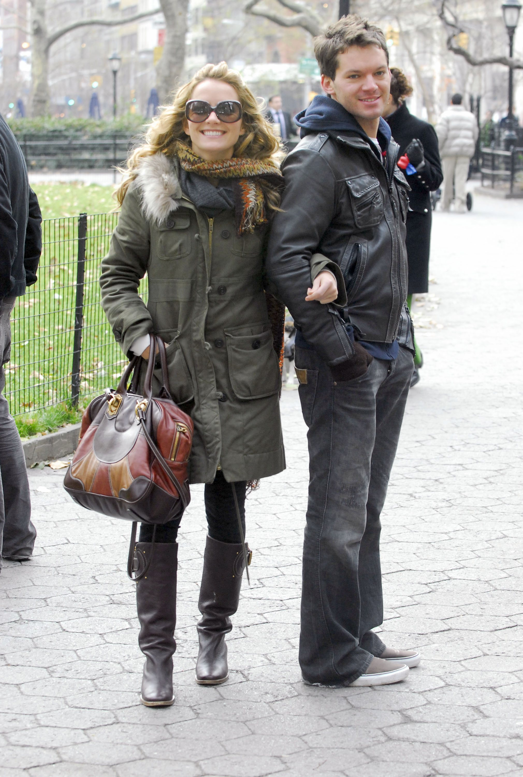 Becki Newton and her brother Matt Newton on the set of 'Ugly Betty'  Featuring: Becki Newton and her brother Matt Newton Where: New York City, United States When: 04 Dec 2008 Credit: Patricia Schlein/WENN