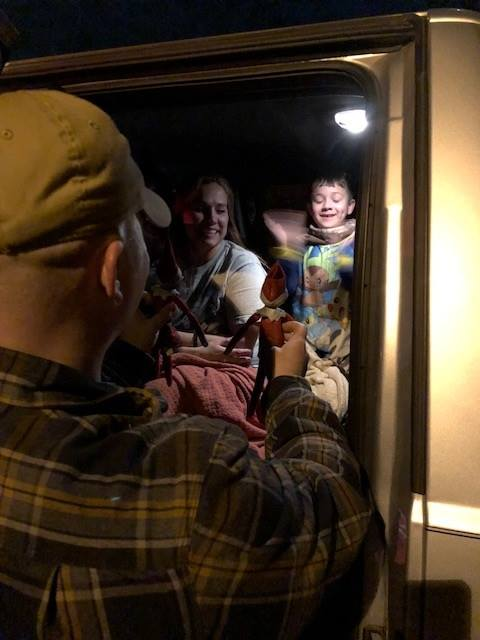 6-year-old Daniel erupts with joy after finding out his Elves on the Shelf were saved by Amarillo firefighters after his home was destroyed in a Friday night fire. (Photo: Amarillo Fire Department)<p></p>