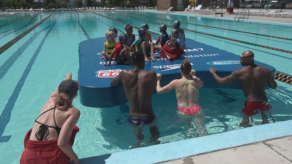 World's largest kickboard gets first float test at D.C.'s Banneker Pool
