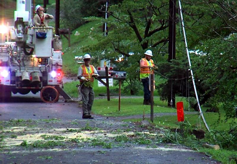 Alabama Power crews working on downed lines in Hueytown.