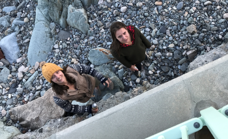 Newport police released this photo of two women accused of spray-painting graffiti on the Cliff Walk. (Newport Police Department photo)<p></p>