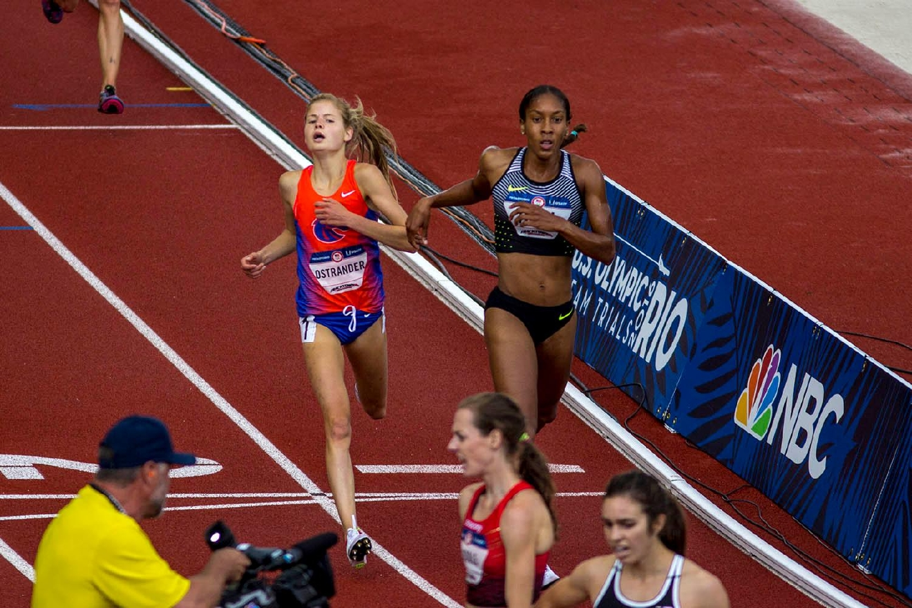 Allie Ostrander, left, and Marielle Hall, right, cross the finish line in the Women�s 5000m Run final. Ostrander finished eighth with a time of 15:25.74 and Hall finished seventh with a time of 15:24.47. Day 10 of the U.S. Track and Field Trials concluded Sunday at Hayward Field in Eugene, Ore. The competition lasted July 1 through July 10. Photo by Amanda Butt