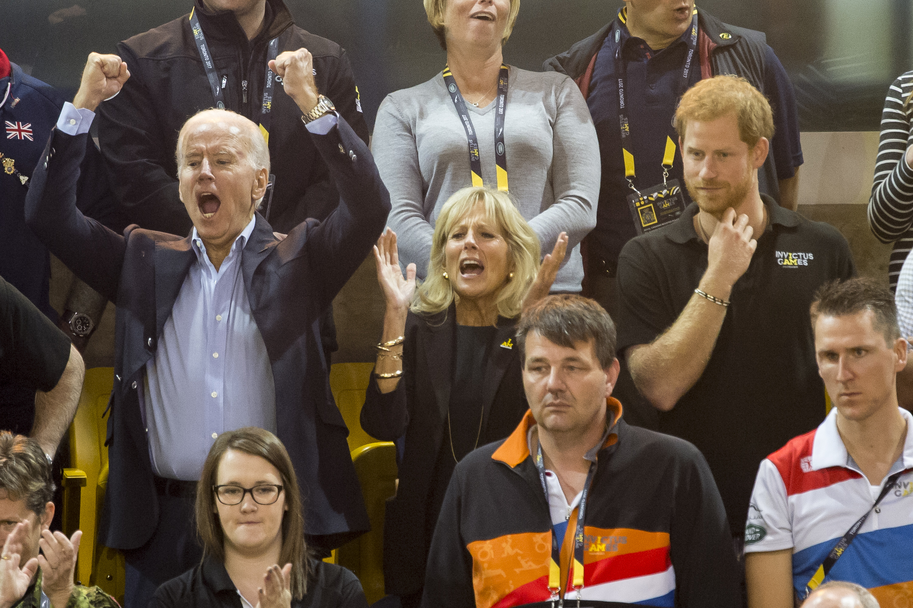 Prince Harry attends Wheel Chair Basket Ball at the Mattamy stadium as part of the Invictus games  Featuring: Joe Biden, Jill Biden, Prince Harry Where: Toronto, Canada When: 30 Sep 2017 Credit: Euan Cherry/WENN.com