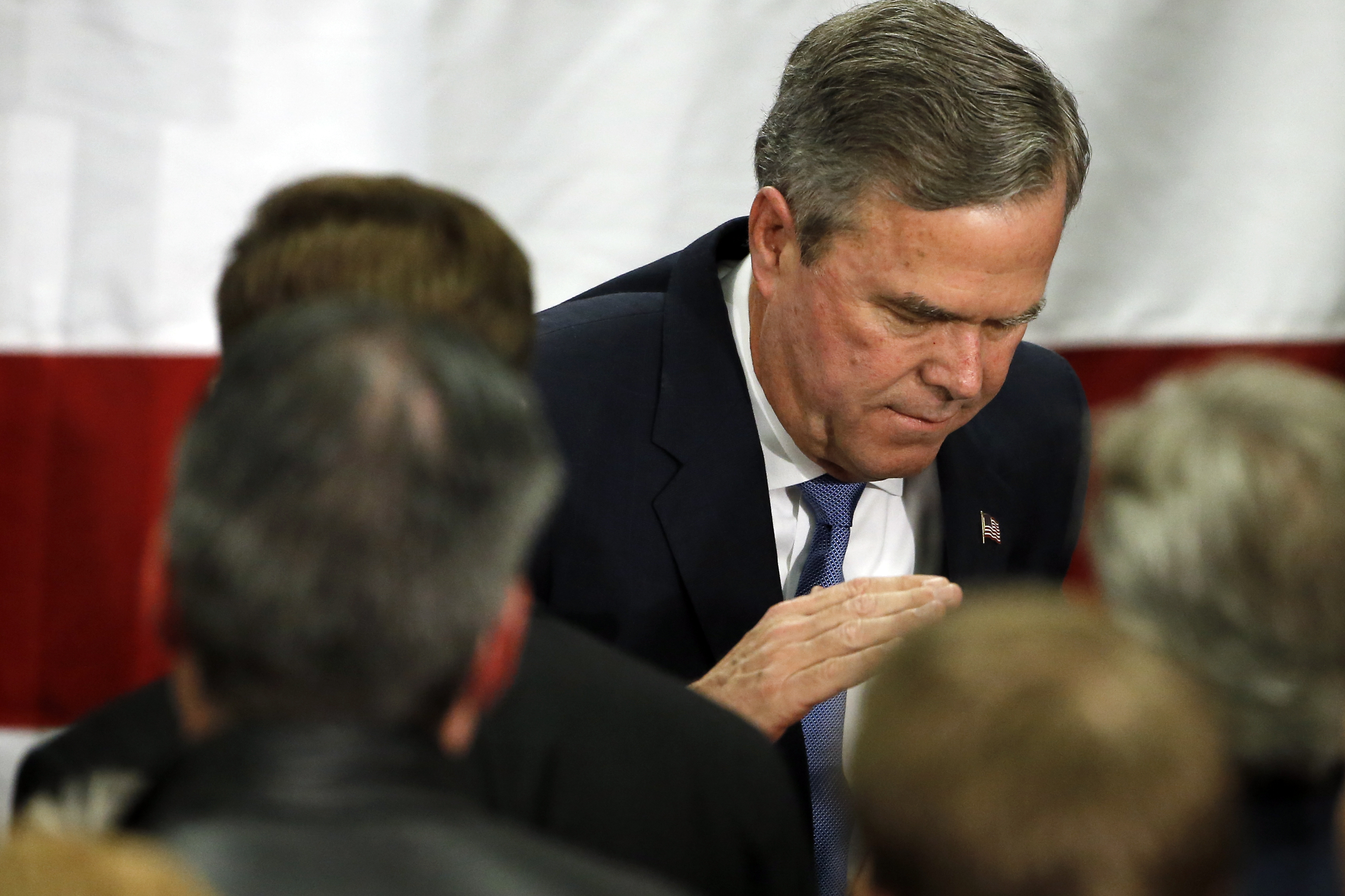 Republican presidential candidate, former Florida Gov. Jeb Bush meets with attendees at his South Carolina Republican presidential primary rally in Columbia, S.C., Saturday, Feb. 20, 2016. (AP Photo/Matt Rourke)