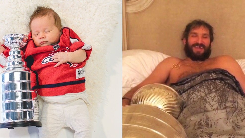 baby Alex Ovechkin sleep with Stanley Cup