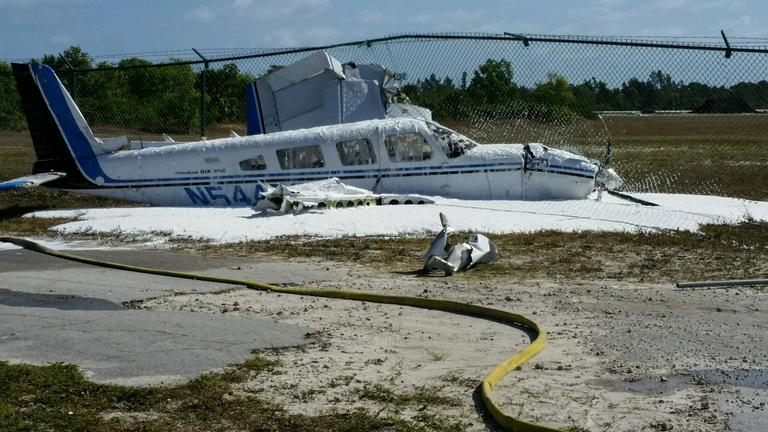 Pompano Beach Fire Rescue responded to a single engine Piper Cherokee 6 airplane that overshot the runway at Pompano Airpark, located at 1001 NE 10 Street in Pompano Beach, crashing into a fence Thursday morning. The 50 year old male pilot and 61 year old male passenger (who is also a pilot) on board the plane were not injured. Both pilot and passenger are from Boca Raton. The six passenger plane is a total loss.