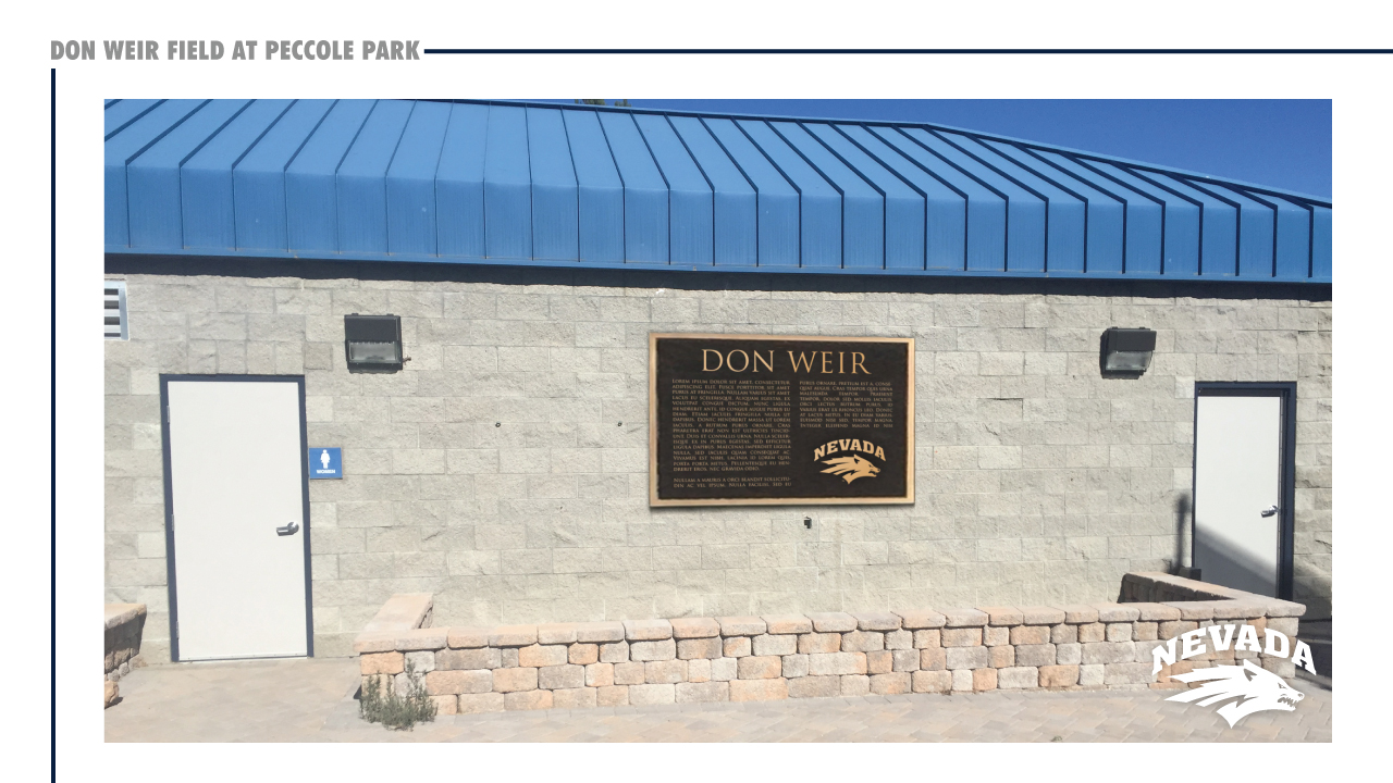 The plaza wall plaque recognizing Don Weir for his $1 million donation to the Wolf Pack. (Courtesy: UNR Athletics){&amp;nbsp;}<p></p>