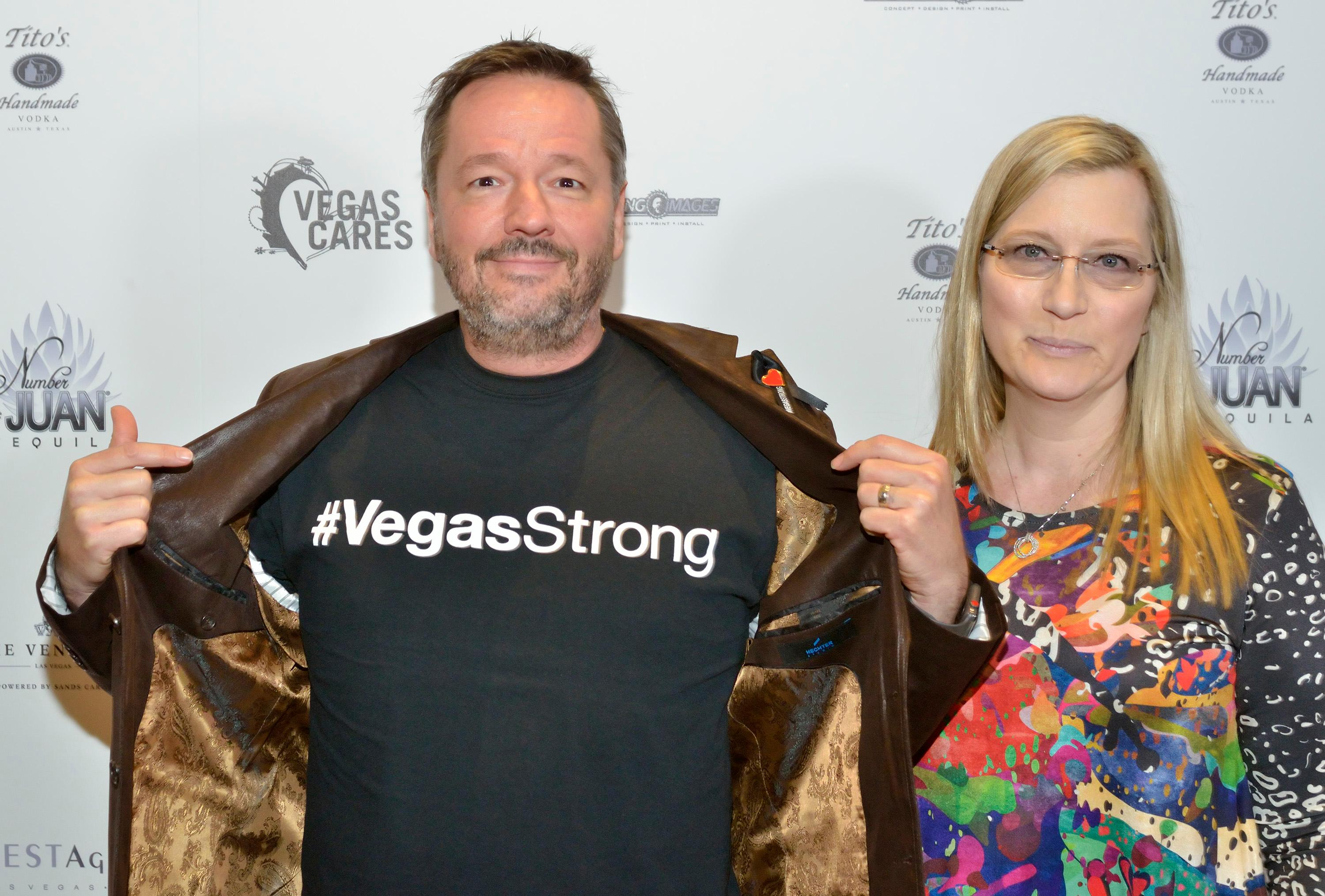 "Terry and Angie Fator are shown at the ""Vegas Cares"" benefit concert at the Venetian Theatre in the Venetian hotel-casino at 3355 S. Las Vegas Blvd in Las Vegas on Sunday, Nov 5, 2017. The concert was sponsored by a group of Las Vegas entertainers, producers and business professionals to honor the victims and first responders from shooting at the Route 91 Harvest festival. (Photo/Las Vegas News Bureau/Bill Hughes)"