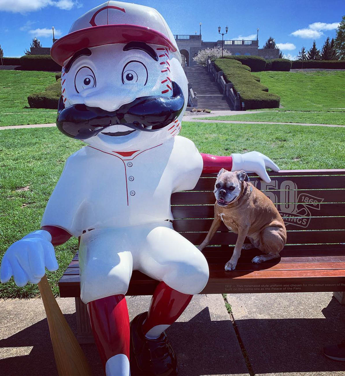 To celebrate the Reds' 150th Anniversary, 24 benches featuring Mr. Redlegs sculptures have been added to various spots around the area, as well as out of town locations including Dayton, Loveland, and Louisville, for the perfect Reds photo op. The mascot sports different uniforms from throughout the team's history at each of the benches. The Reds have been wearing these same throwback uniforms during their 2019 season.  / Location: Ault Park / Uniform: 1912 / Image courtesy of Instagram user @kmmarsh     // Published: 5.14.19{ }