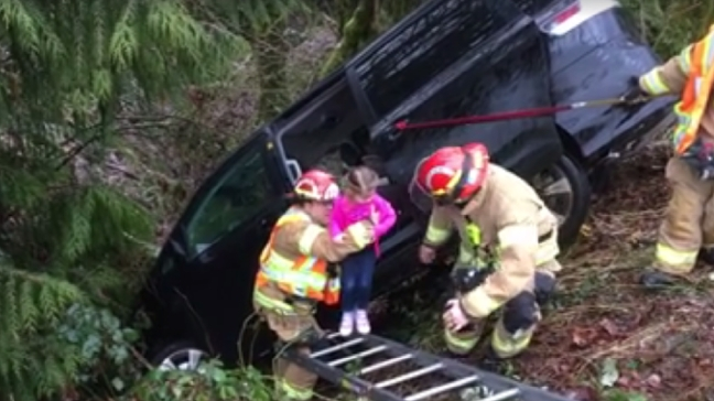 Watch: Clark Co. firefighters save family of 4 after crash on way to school