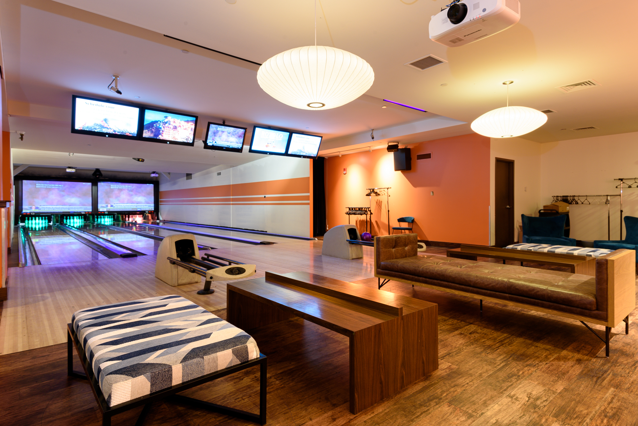 In the back is a VIP area that can be rented for any function. There, VIPs will have their own private bowling lanes as well as quick access to the full-service bar just outside the room. / Image: Phil Armstrong, Cincinnati Refined // Published: 1.12.19