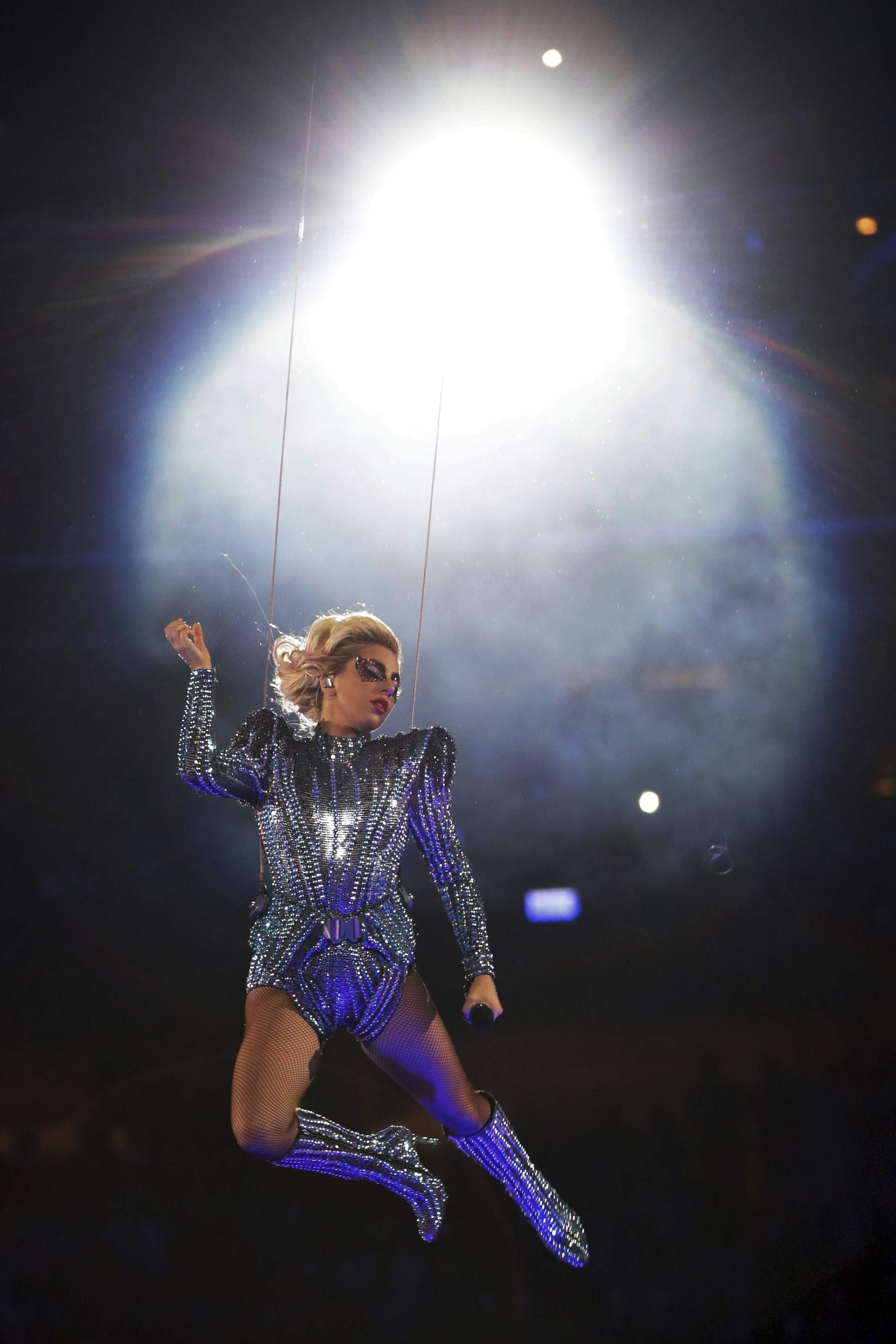 Singer Lady Gaga performs during the halftime show of Super Bowl 51 Sunday, Feb. 5, 2017, in Houston. THE ASSOCIATED PRESS