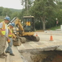 Hole opens up in Sylva street