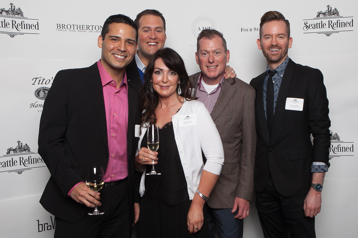 Michelle Morin, Seth Wayne, Gerardo Lopez, Jason Hamblin and Nathan Wilson celebrate the launch of Seattle Refined (Image: Joshua Lewis / Seattle Refined)