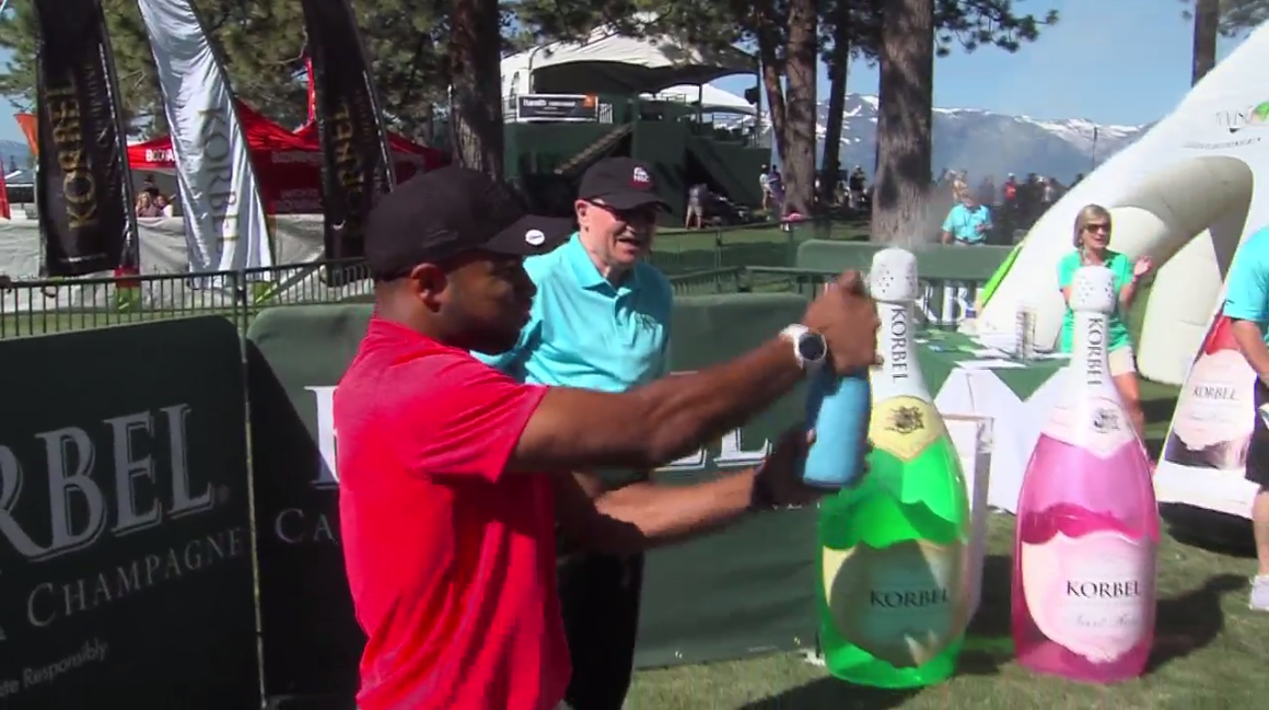 NFL wide receiver Golden Tate takes part in the Celebrity Spray off at the American Century Championship golf tournament (SBG)