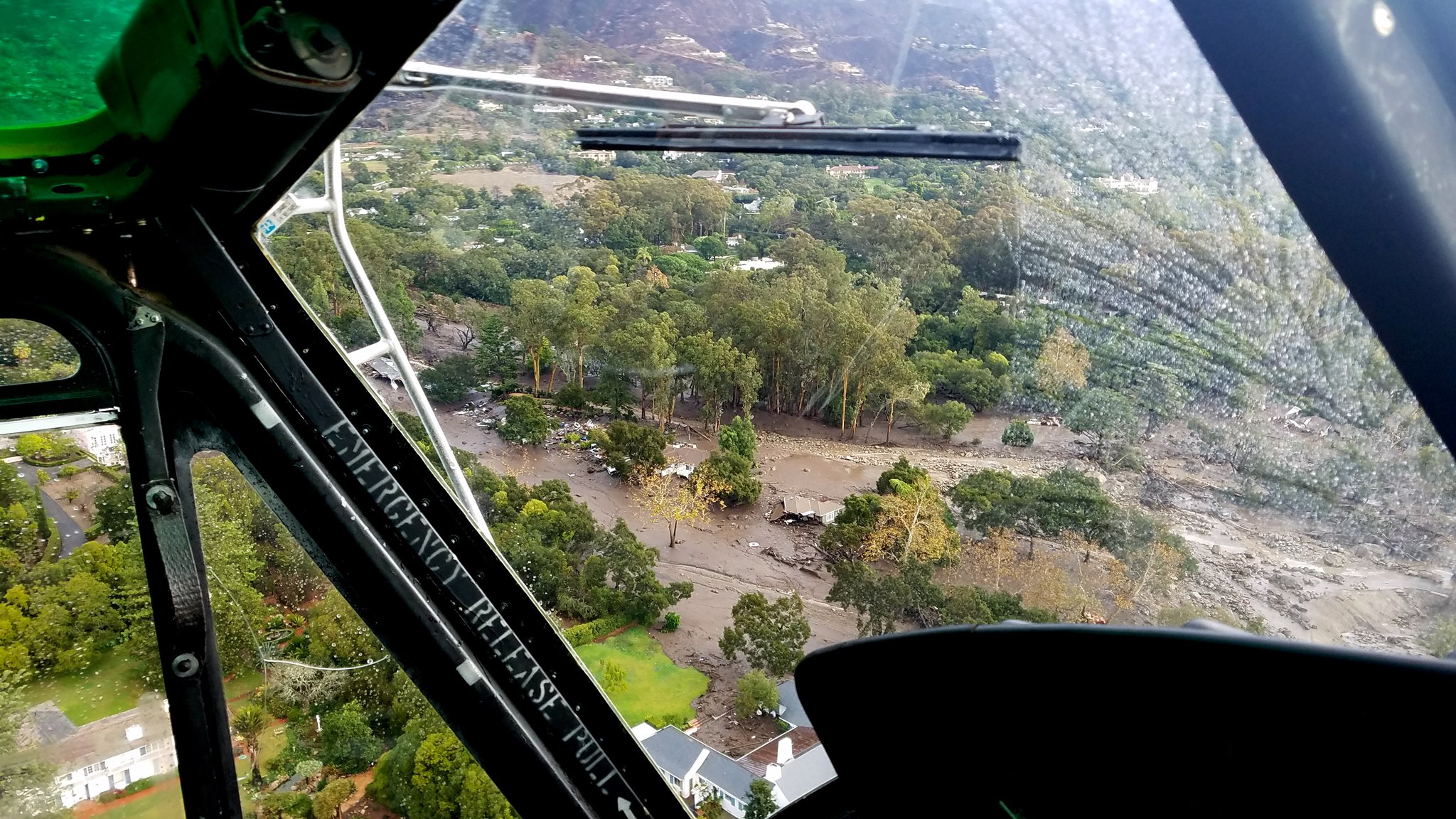 Aerial photos taken aboard Santa Barbara County Air Support Unit's Fire Copter 308 showing mudflow and damage in Montecito. Photos by Matt Udkow/Santa Barbara County FD.{ } (Photo & Caption: Mike Eliason, Santa Barbara County Fire Dept.)