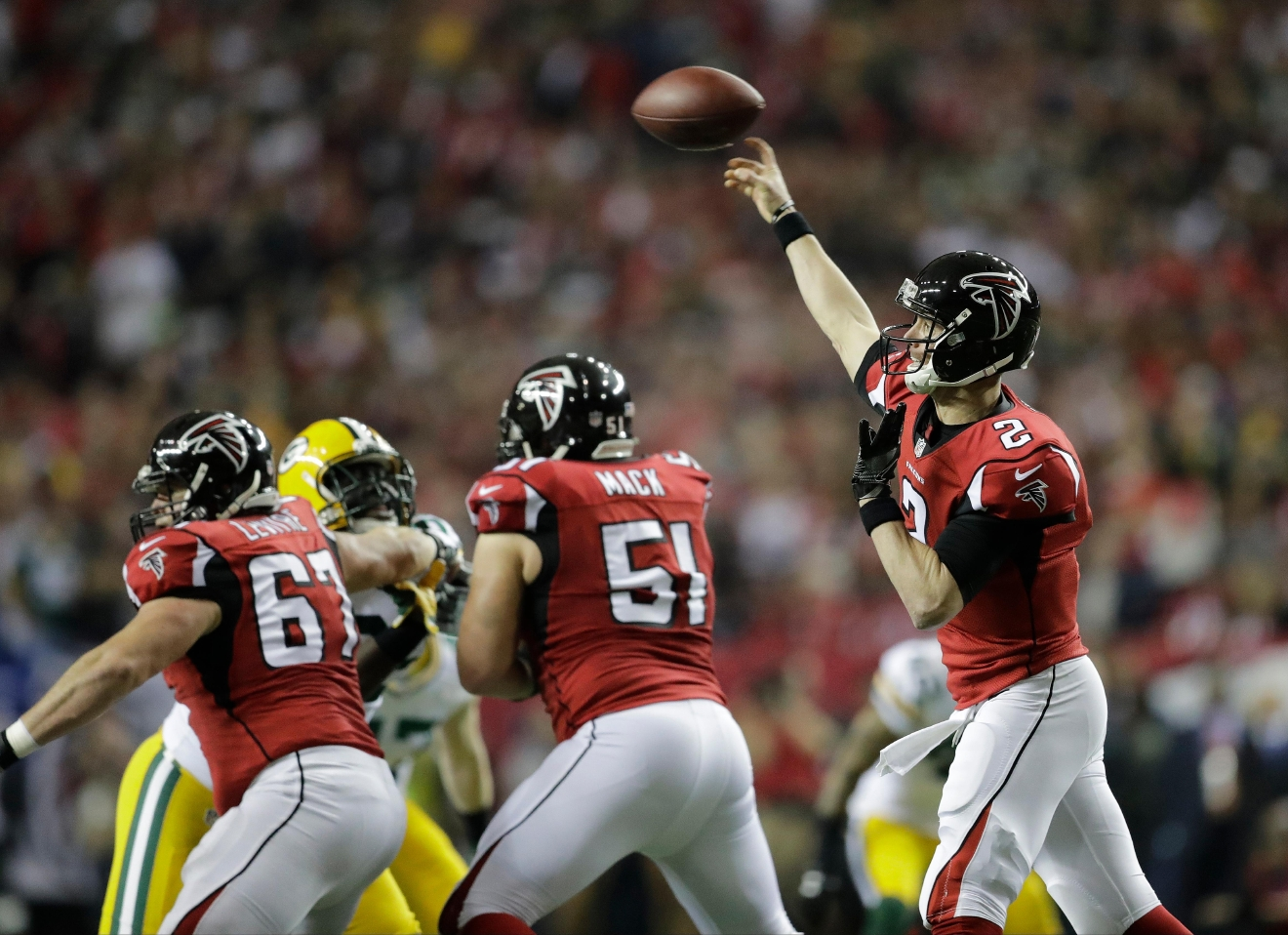 Atlanta Falcons' Matt Ryan throws during the first half of the NFC championship game against the Green Bay Packers, Sunday, Jan. 22, 2017, in Atlanta. (AP Photo/David Goldman)