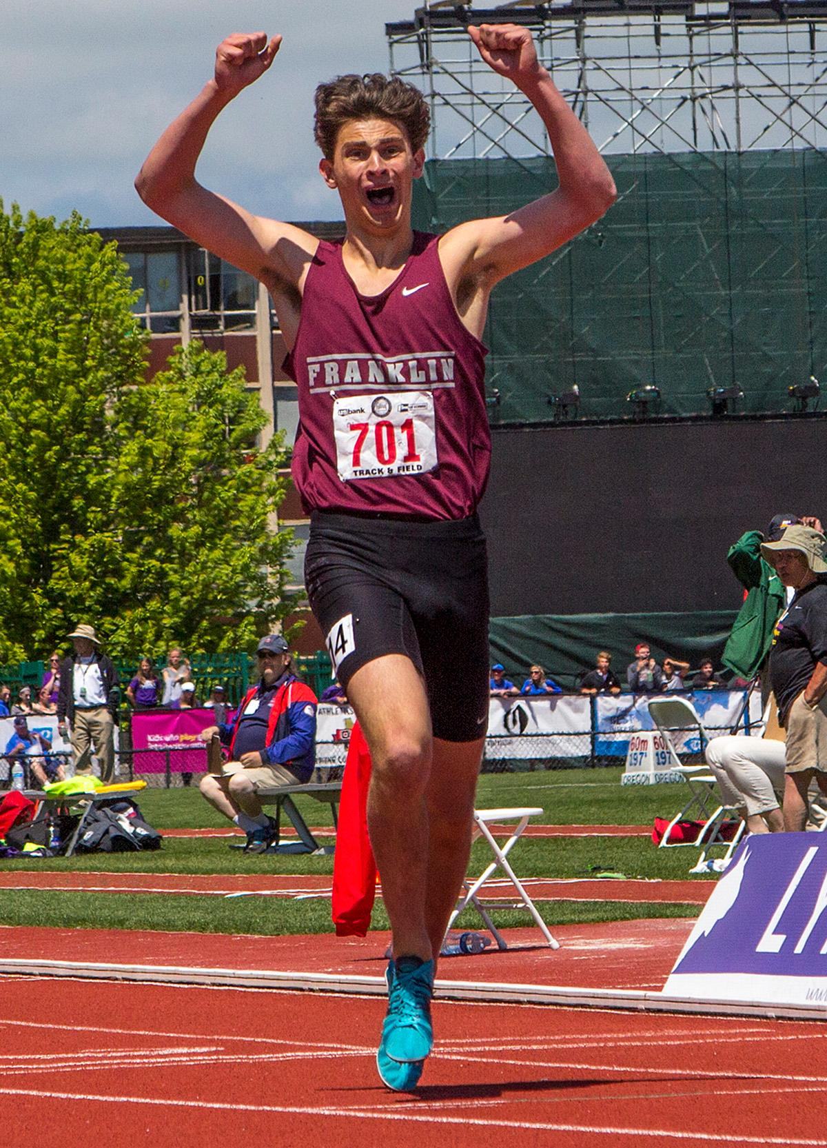 Henry Mong of Franklin wins the Boys 1500 Meter Run 6A with a time of 3:50.52 at the OSAA Track and Field State Championships at Hayward Field. Photo by Nichole Louchios, Oregon News Lab.