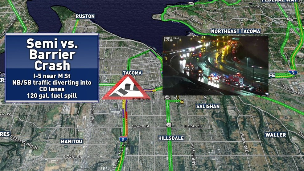 Another truck crash in Tacoma work zone cripples commute