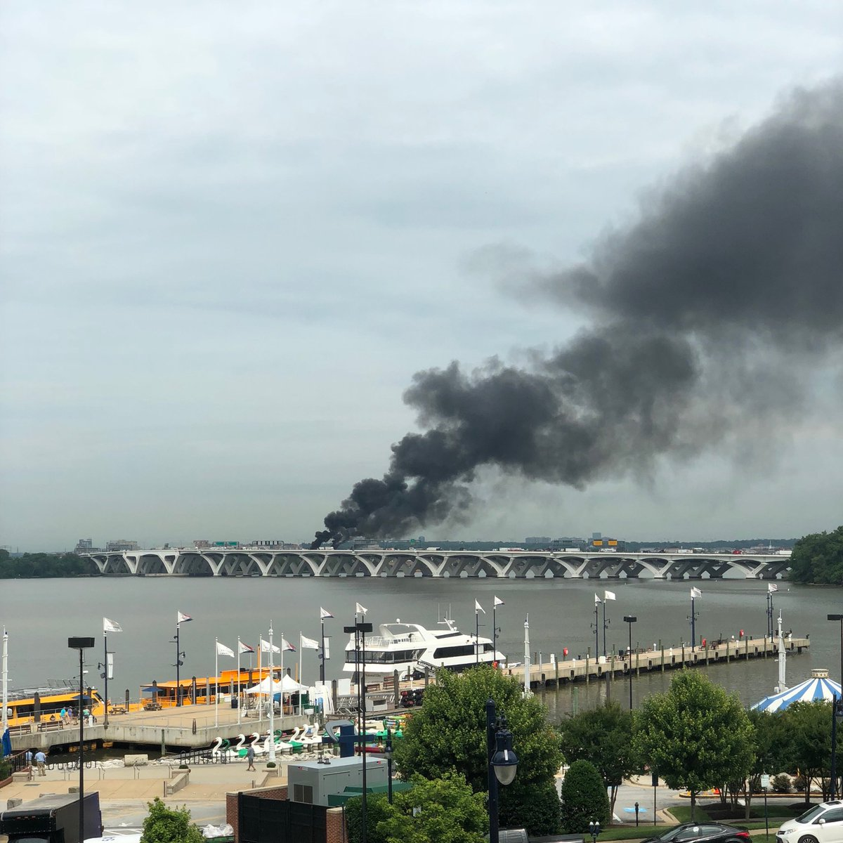 Cars on fire on Woodrow Wilson Bridge, Wednesday, June 20, 2018. (Courtesy{&amp;nbsp;} @CameronJ){&amp;nbsp;}<p></p>