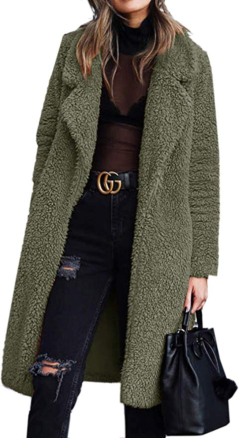 This long fuzzy fleece olive green coat is to die for! Shop it{ }- $37. (Image: Nordstrom){ }