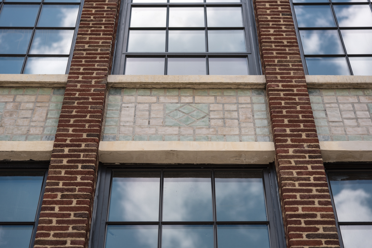 Many Rookwood tiles on the exterior of the building were preserved. / Image: Phil Armstrong, Cincinnati Refined // Published: 6.15.17