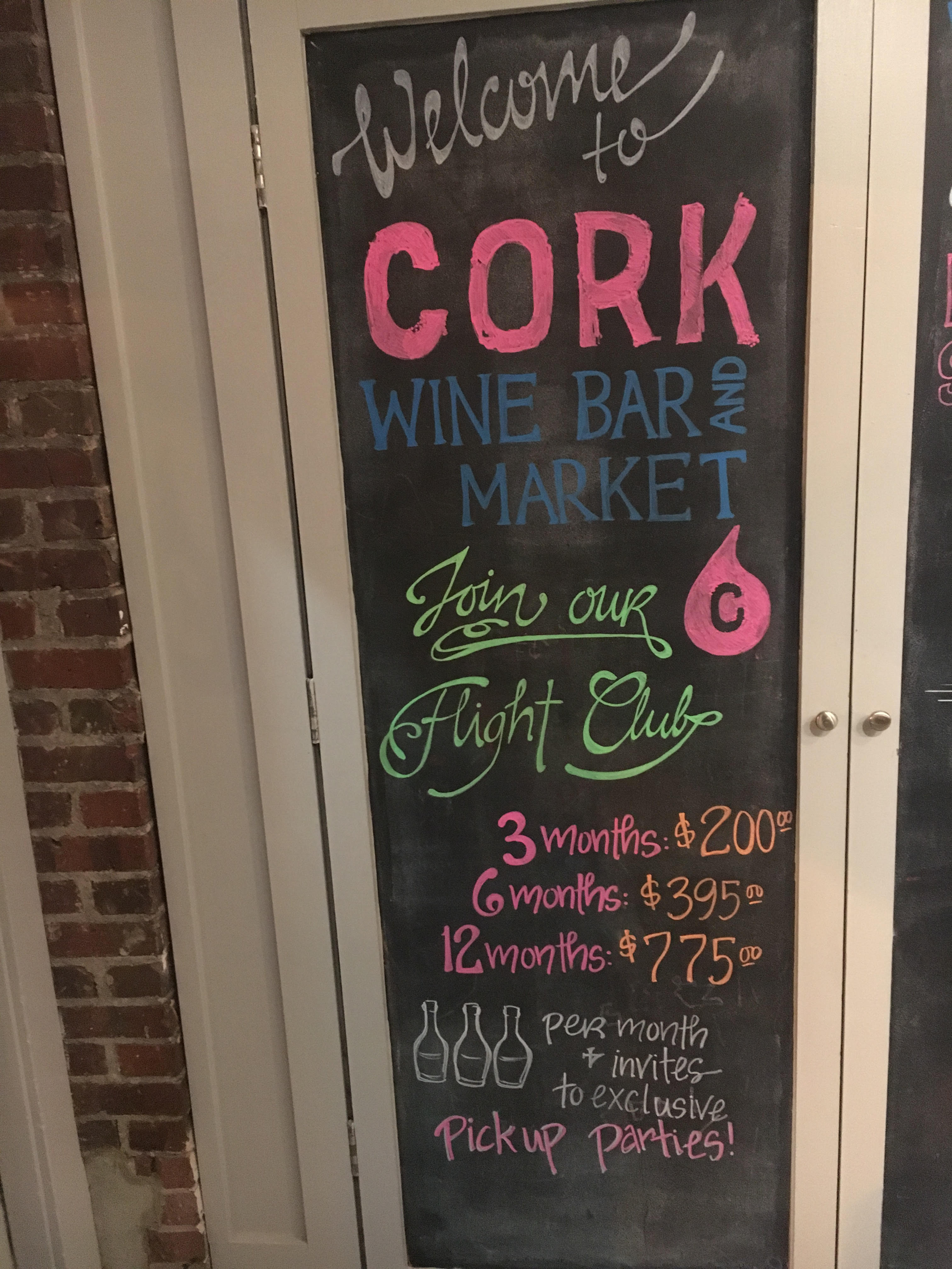 <p>Flight{&nbsp;}Club from Cork Market // Price: $200 for 3 month subscription{&nbsp;} (9 bottles), $395 for 6 months (18 bottles) , $775 for 12 months (36 bottles) // Sign up at the restaurant or by emailing FlightClub@CorkDC.com //{&nbsp;}www.corkdc.com // (Image: Cork Market)</p>