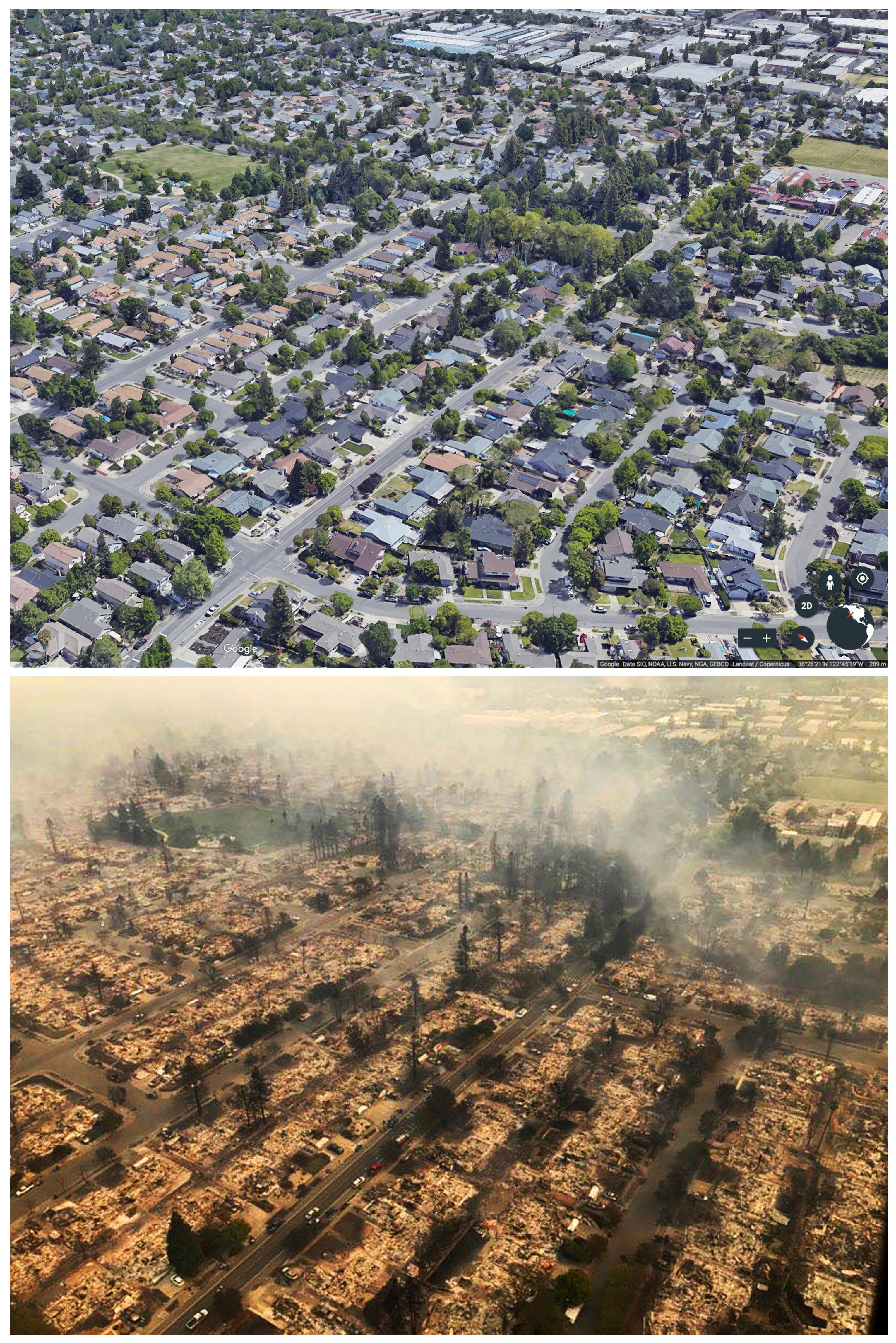 This combination of photos shows the Coffey Park neighborhood of Santa Rosa, Calif. The bottom image taken Monday, Oct. 9, 2017, and provided by the California Highway Patrol Golden Gate Division, shows the damage after a wildfire swept through the area. The top undated image provided by Google Earth shows the area before the fire. (Google Earth (top), California Highway Patrol Golden Gate Division (bottom) via AP)