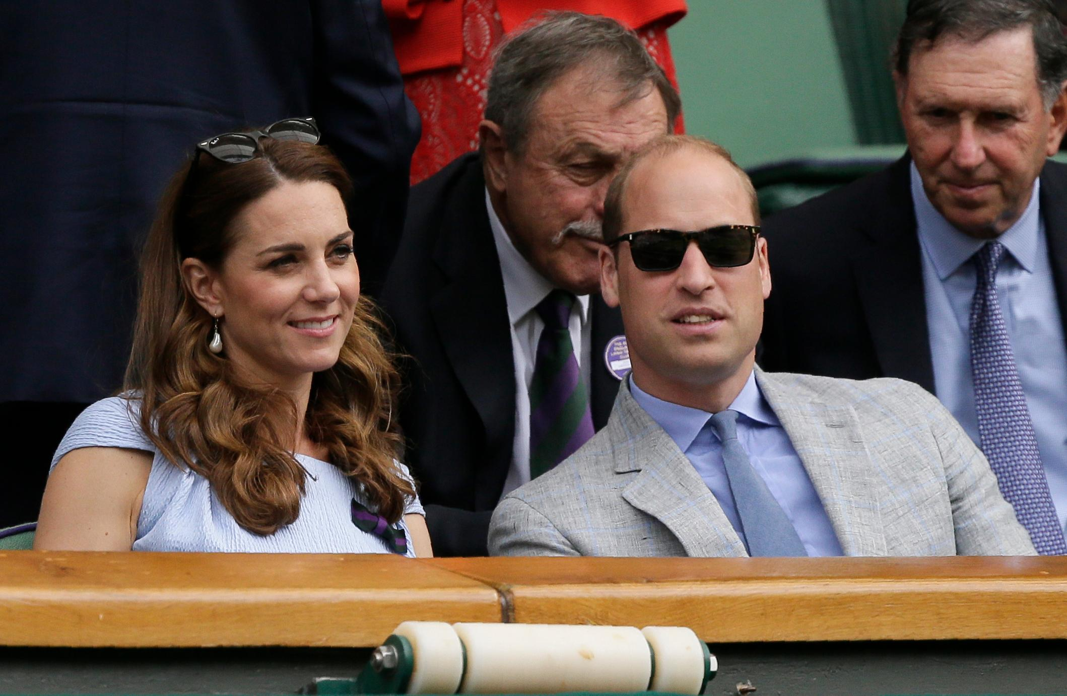 Britain's Kate, The Duchess of Cambridge and Prince William watch Serbia's Novak Djokovic play Switzerland's Roger Federer during the men's singles final match of the Wimbledon Tennis Championships in London, Sunday, July 14, 2019. (AP Photo/Tim Ireland)