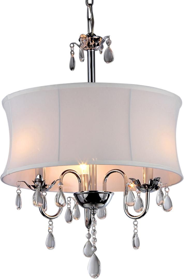 The 3 Light Round Crystal Chandelier ($157.18) features a classic style with a modern twist. The chandelier features a lovely fabric shade surrounded by beautiful tear shaped crystals. (Image: Wayfair)