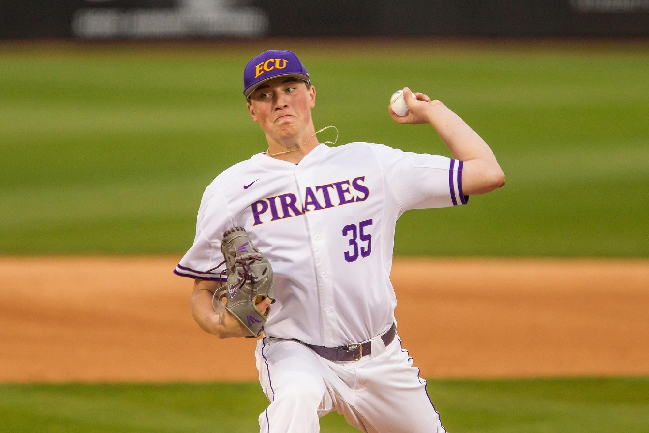 Evan Kruczynski, who went 8-1 with a 2.01 ERA last season, is one of East Carolina's three preseason All-Americans.  (Photo courtesy ECU Athletics Communications)