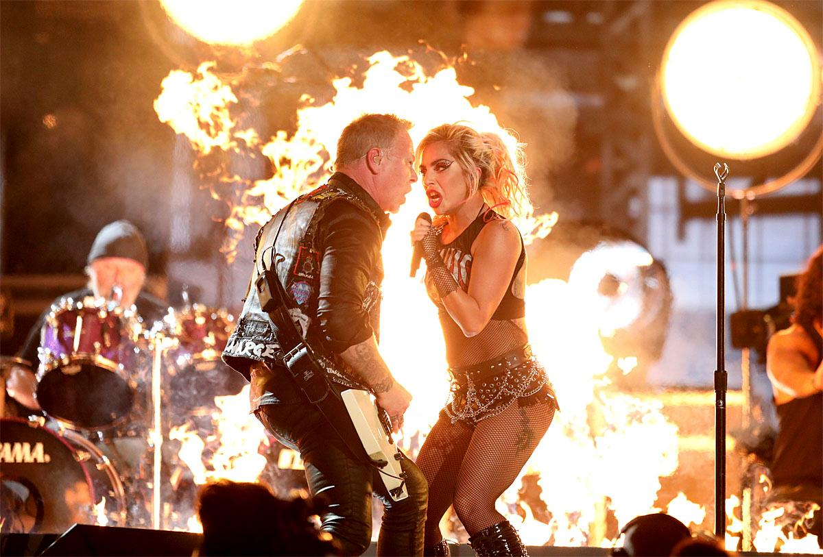 "Lady Gaga, right, and James Hetfield of ""Metallica"" perform ""Moth Into Flame"" at the 59th annual Grammy Awards on Sunday, Feb. 12, 2017, in Los Angeles. (Photo by Matt Sayles/Invision/AP)"