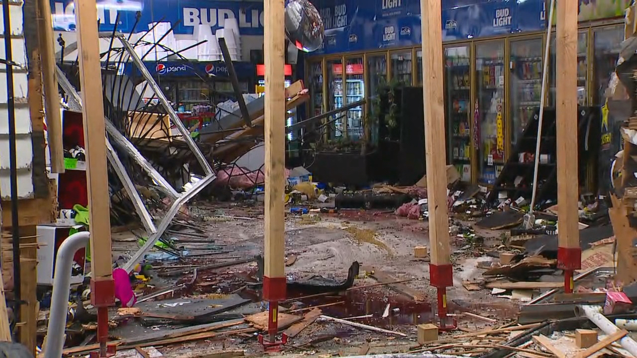 Damage left behind after a car crashed into a Sammamish gas station (KOMO Photo)