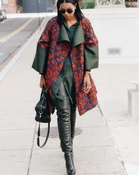 IMAGE: IG user @beautejadore / POST: Coming up on #beautejadore #diy brocade coat using @moodfabrics green floral brocade #312145 with my favorite #diy leather pants