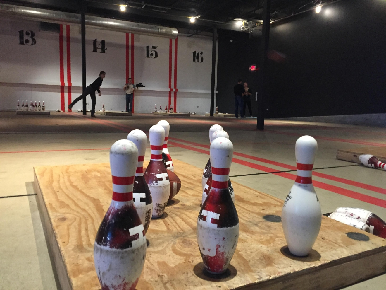 The Super Bowl normally signals the end of football season, but there's a new sport popping up that allows people to continue to throw the pigskin. At HUB Stadium in Auburn Hills this new game is called bomb bowling. (Credit: Stephanie Parkinson)