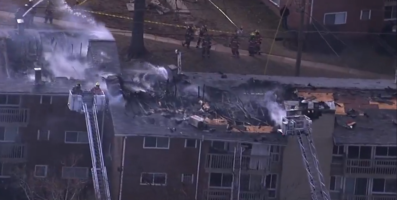 A three-alarm apartment fire occurred on Friday, Feb. 2 in Rockville, Md.  (SkyTrak7  photo)