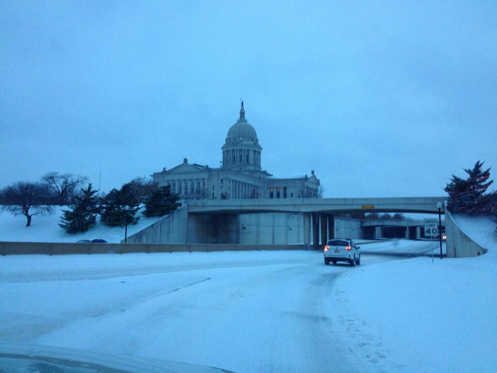 Snow covered OK State Capitol and NE 23rd St.