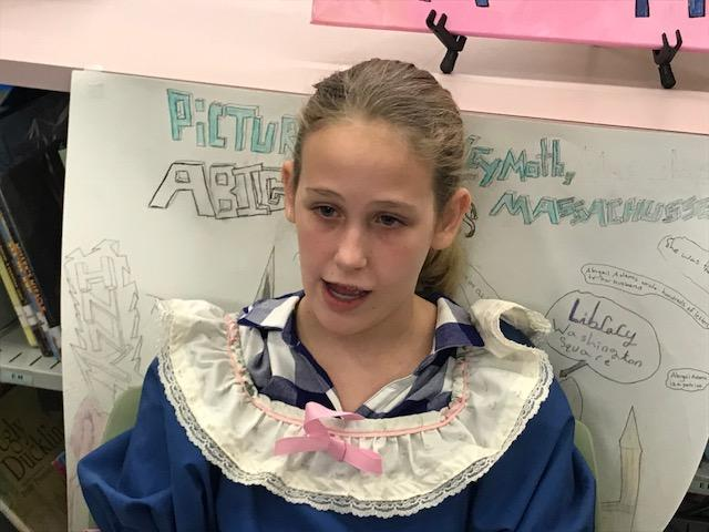 Fifth-graders at Ira B. Jones Elementary research historical figures of the American Revolution, like Nancy Hart, John Adams and Samuel Adams. (Photo credit: WLOS Staff)