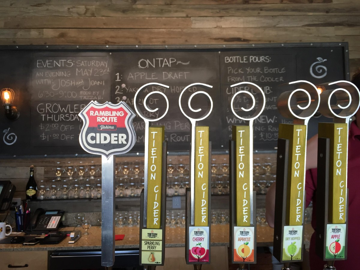 Tieton Cider Works' taps inside their recently opened tasting room. (Image: Frank Guanco)