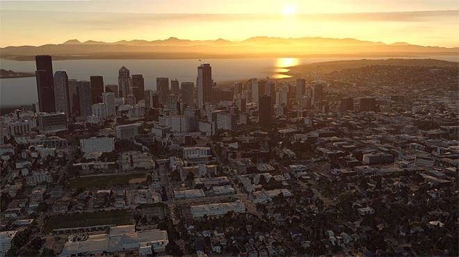 Sunset Over Seattle From Helicopter (Photo courtesy YouNews contributor: joey_p)