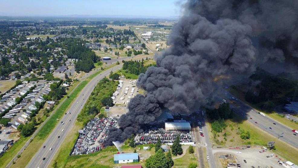 Wrecking Yards In Oregon : Alarm fire at junkyard sends plume of smoke high above