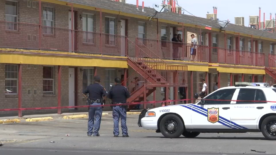 Scene of deadly shooting at{ }Michelle's Apartments at 8507 Alameda Avenue in El Paso's Lower Valley.{ }
